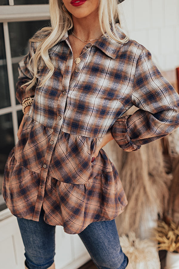 Picking Apples Flannel Top In Copper