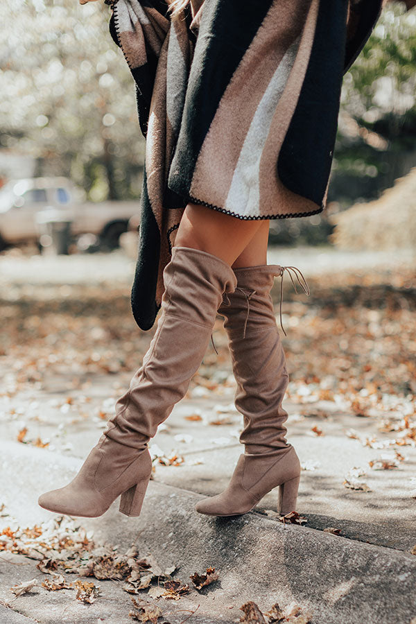 The Raven Faux Suede Thigh High Boot In Warm Taupe