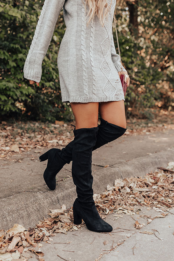 The Raven Faux Suede Thigh High Boot In Black