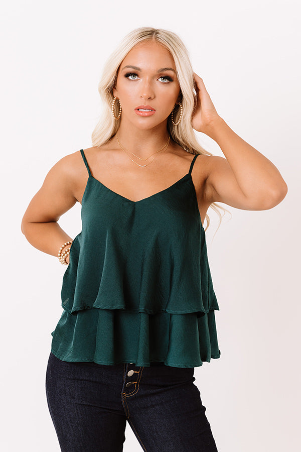 All Day Divine Satin Shift Tank In Hunter Green