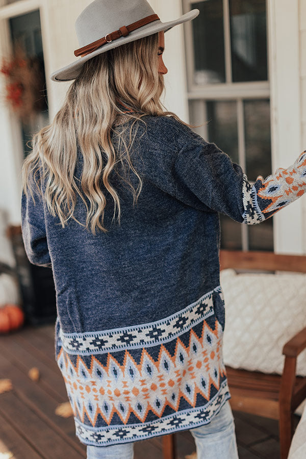 Bobbing For Apples Knit Cardigan In Navy