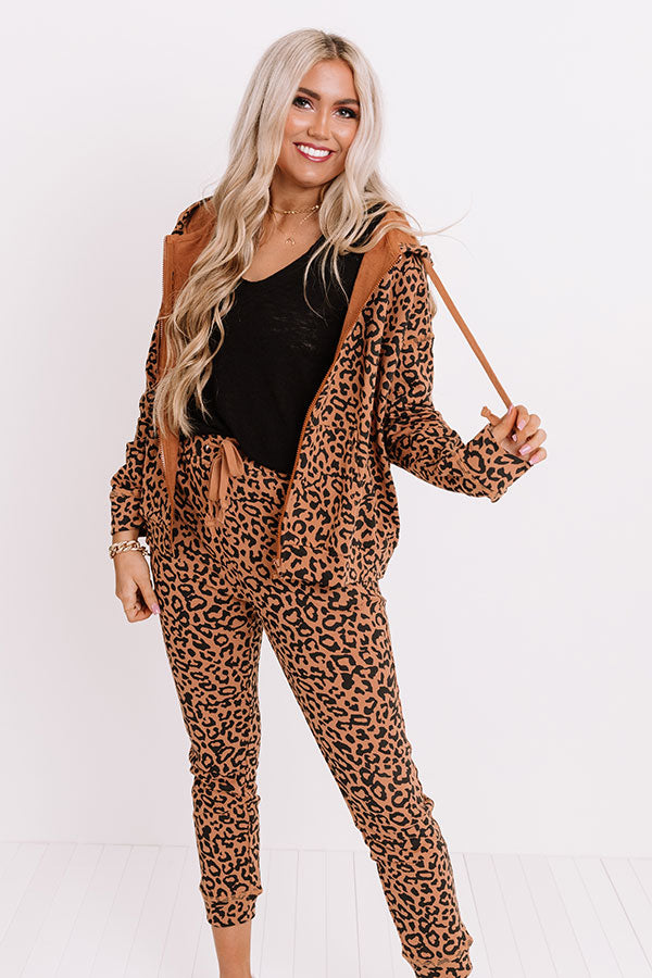 Perfectly Cozy Leopard Sweater In Camel