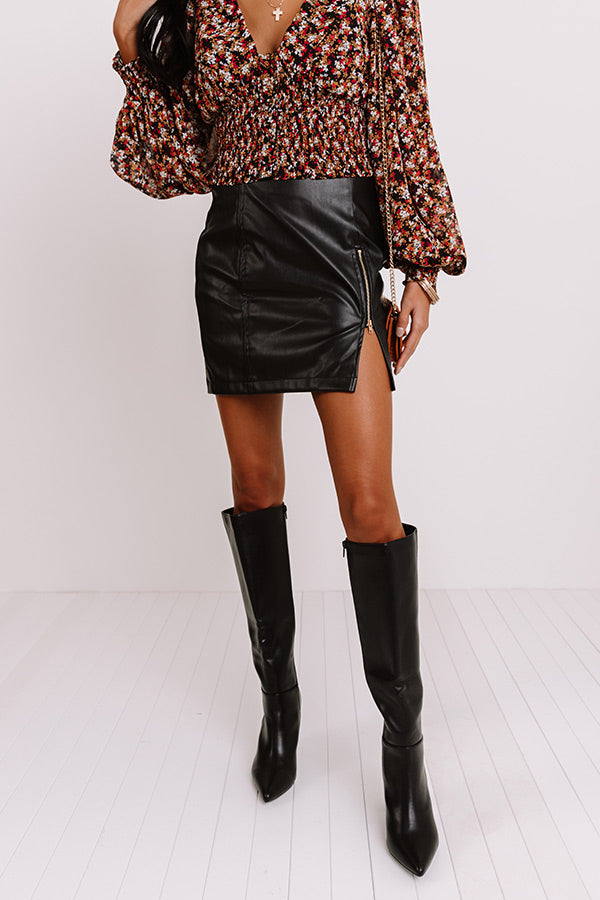 The Loey Faux Leather Skirt In Black