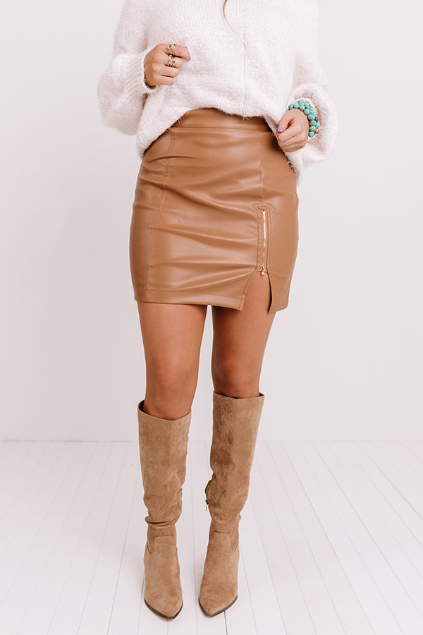 The Loey Faux Leather Skirt In Iced Mocha
