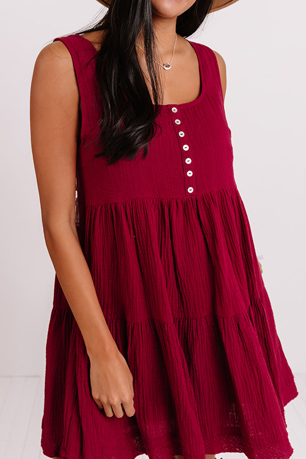 Vermont Views Babydoll Dress In Wine