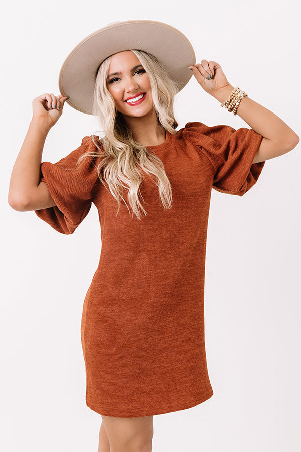 Highway To Happy Shift Dress In Rust