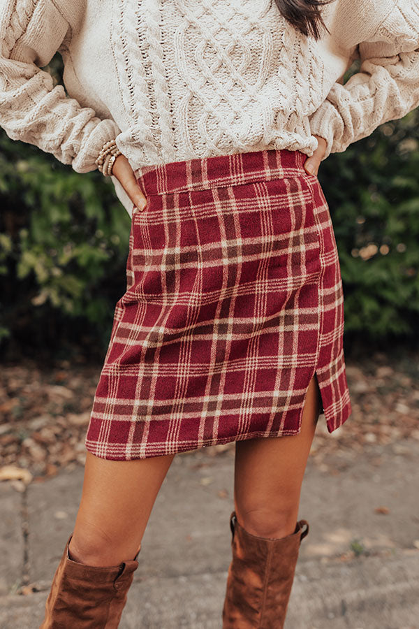 Prep School Plaid Skirt In Wine