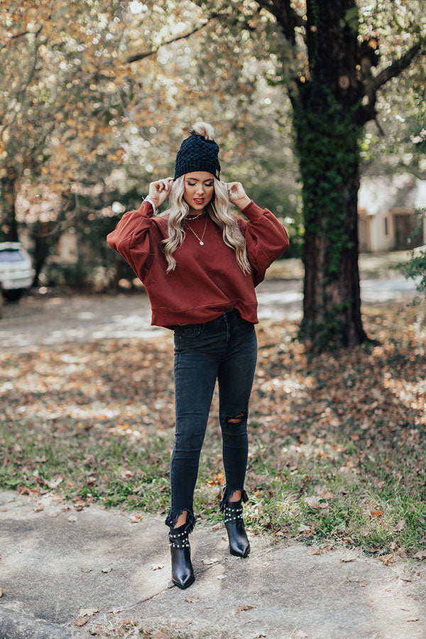 To The Mountains Sweatshirt In Dark Rust