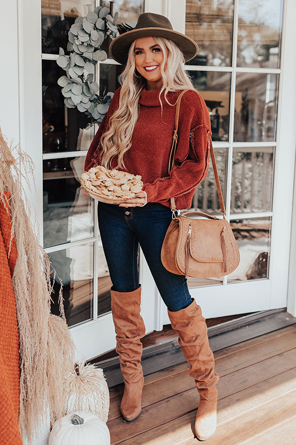 Haute Tea Chenille Sweater In Rust