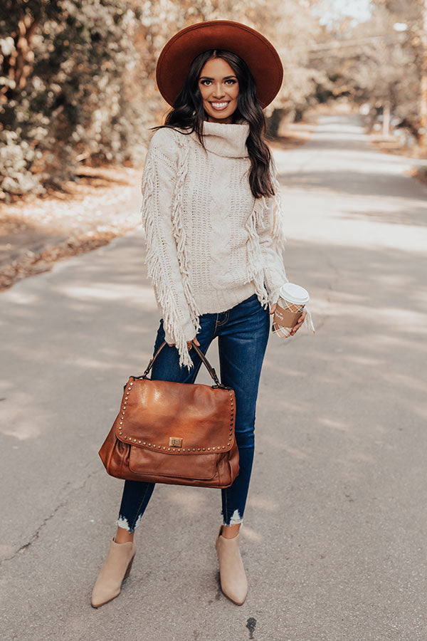 Caught Crushing Fringe Knit Sweater In Birch