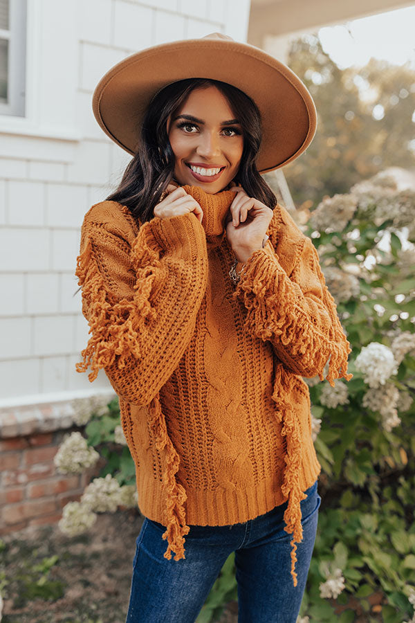 Caught Crushing Fringe Knit Sweater In Pumpkin