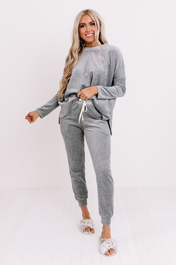 Queen Of Comfort Velour Joggers In Dark Grey
