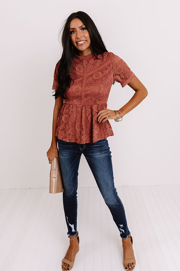 Upscale Resort Lace Top In Rustic Rose
