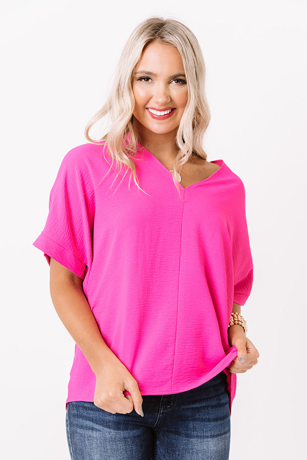 Versailles Celebration Shift Top In Hot Pink