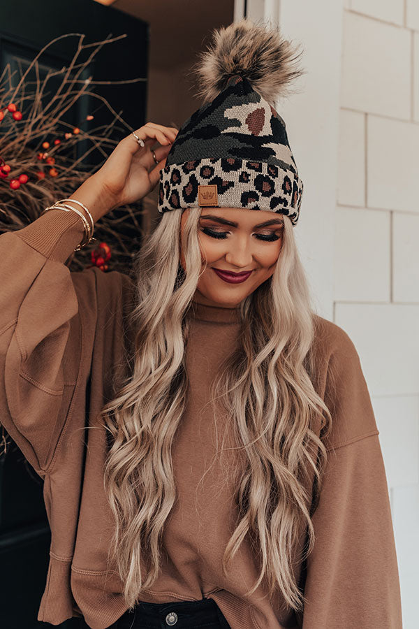 Outdoorsy Babe Faux Fur Pom Beanie