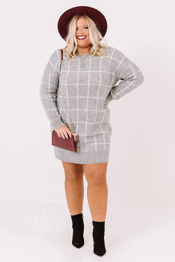 Crisp Evening Sweater Dress In Grey