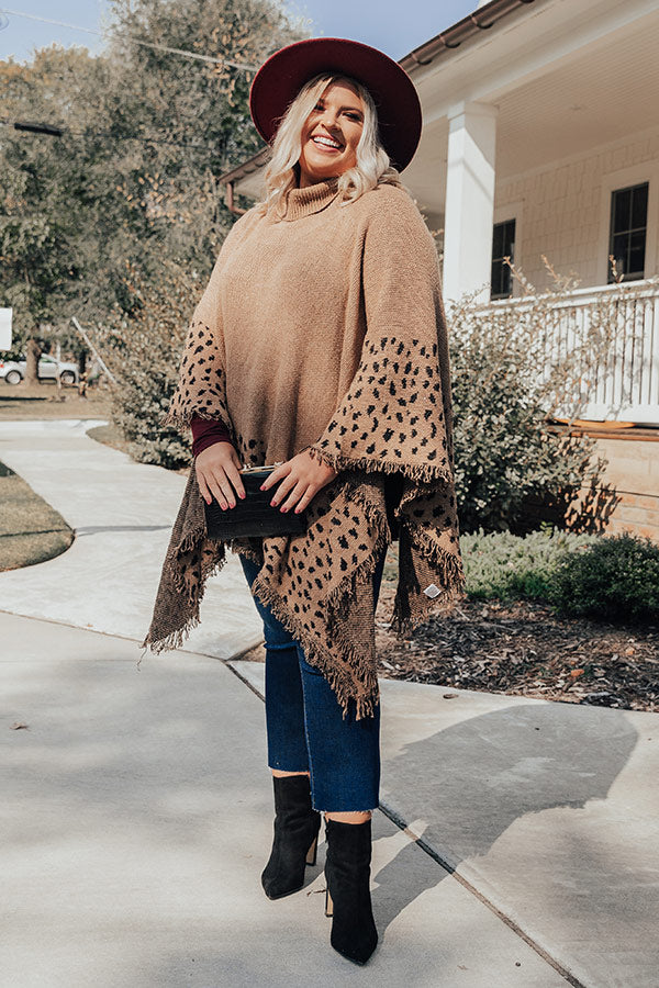 Mountain Mornings Leopard Poncho In Mocha
