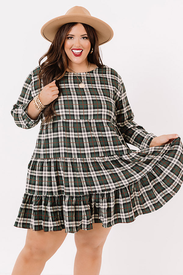 Cinnamon And Spice Plaid Babydoll Dress In Green