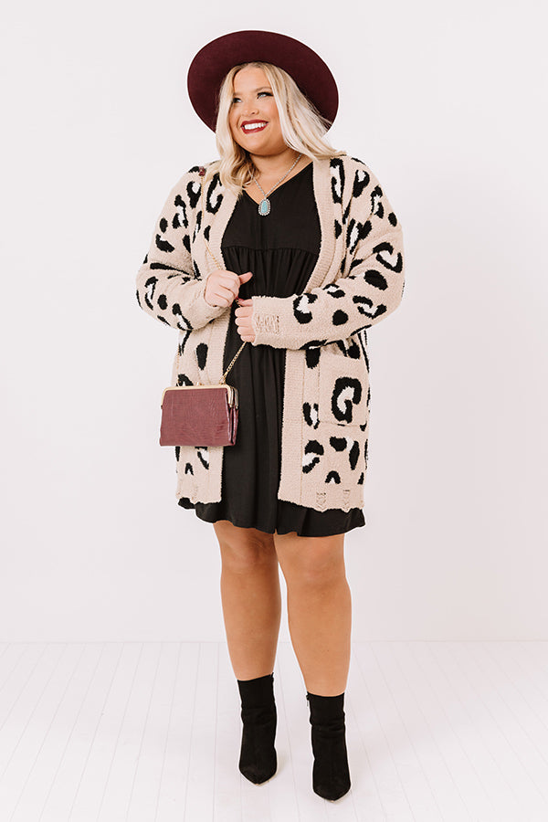 Cozy By The Fireplace Leopard Cardigan In Iced Latte