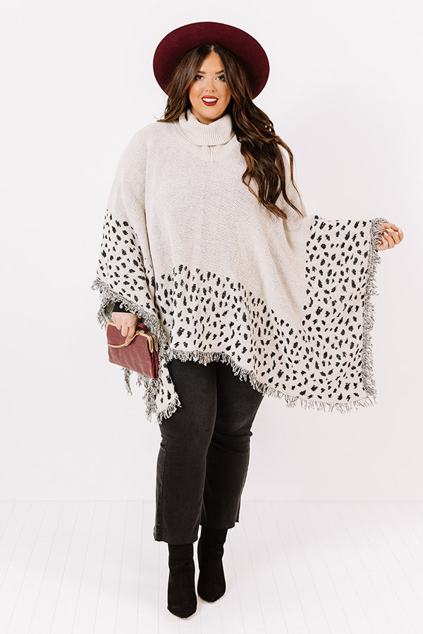 Mountain Mornings Leopard Poncho In Ivory