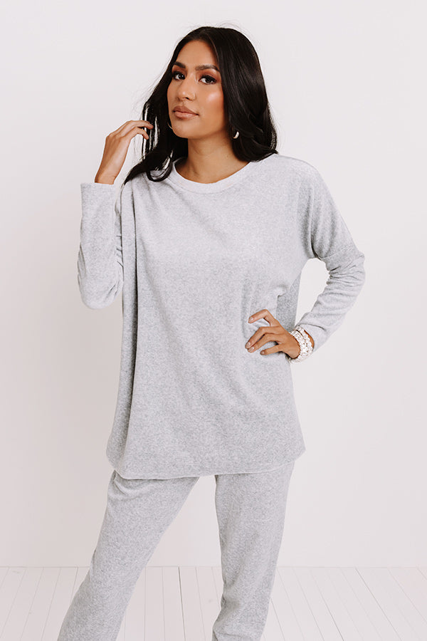 Queen Of Comfort Velour Sweatshirt In Grey