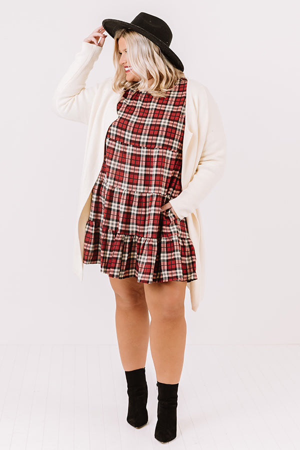 Cinnamon And Spice Plaid Babydoll Dress In Wine