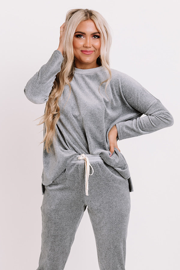 Queen Of Comfort Velour Sweatshirt In Dark Grey