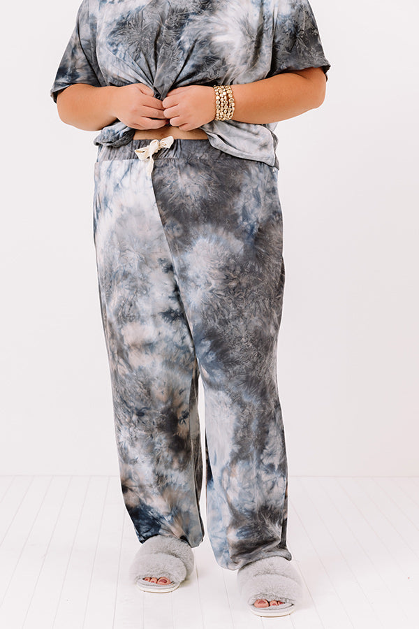 Cozy Mornings Tie Dye Joggers In Navy