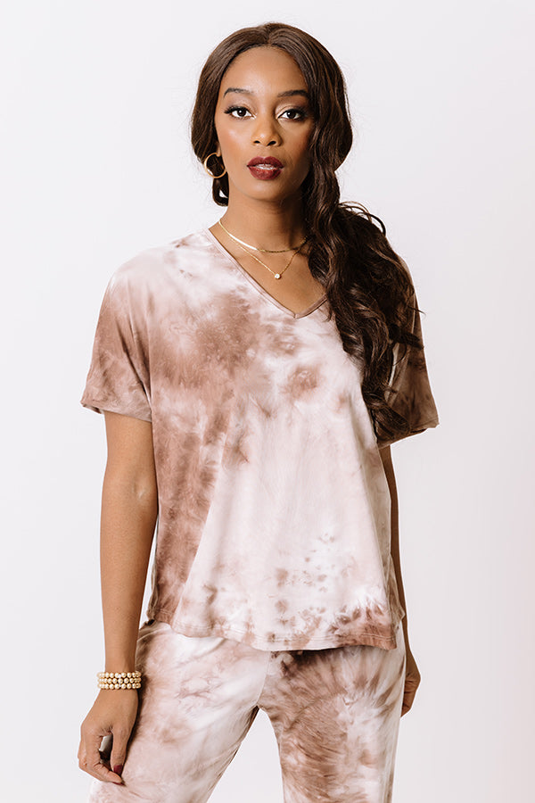 Cozy Mornings Tie Dye Top In Mocha