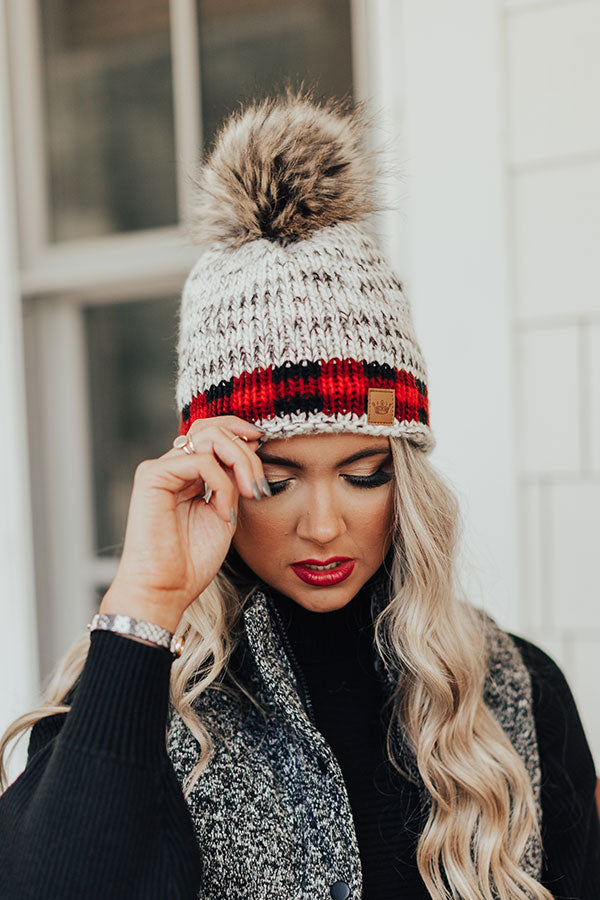Waiting For Snow Knit Beanie In Red