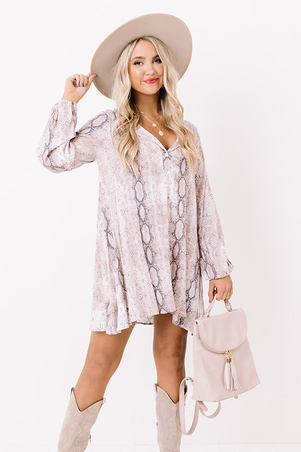 Flirty Babe Snake Print Tunic Dress In Dusty Purple