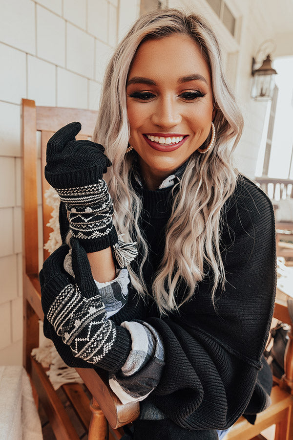 Vail Ski Trip Knit Gloves in Black