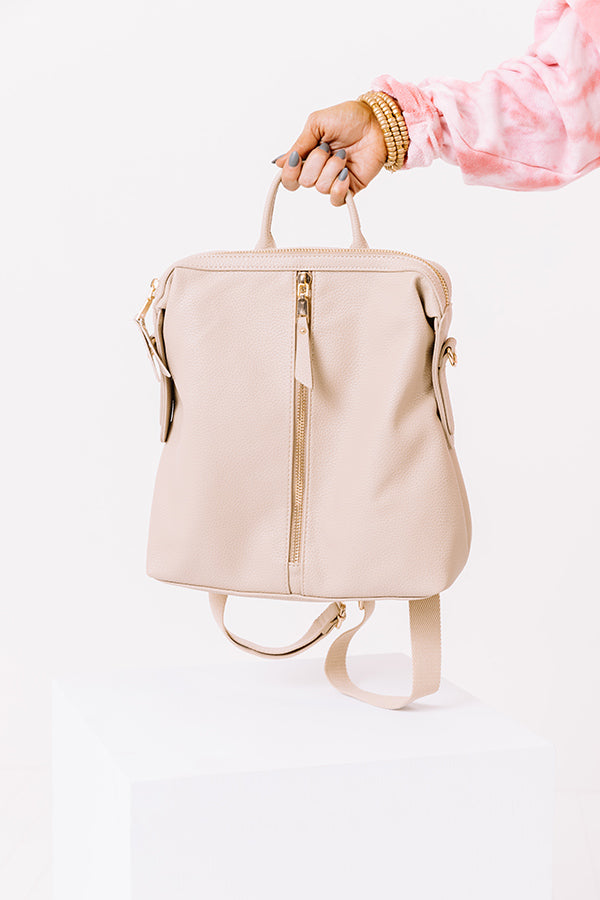 Athens Adventure Faux Leather Backpack In Iced Latte