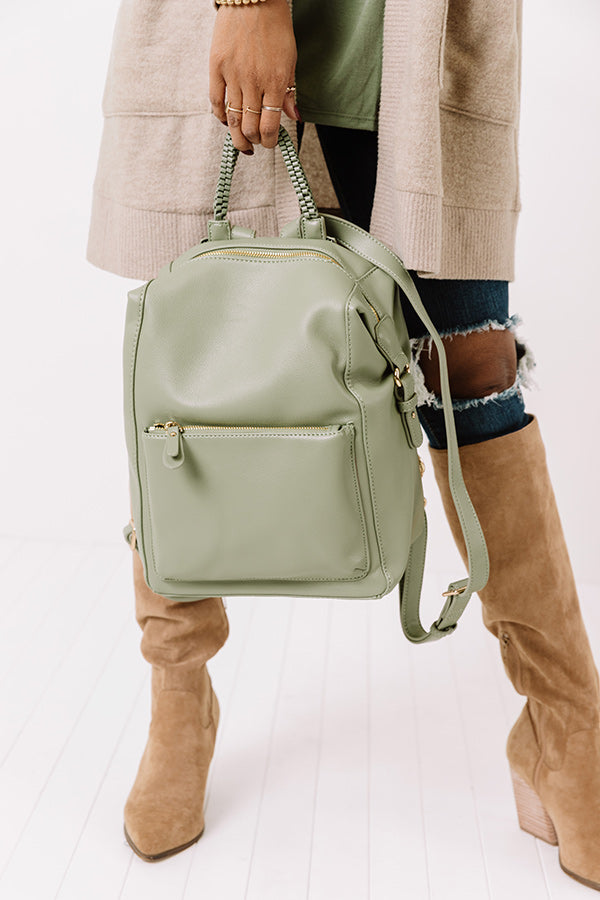 Milan Magic Faux Leather Backpack In Pear