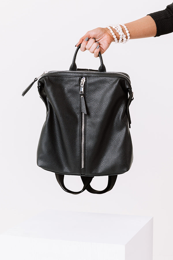 Athens Adventure Faux Leather Backpack In Black