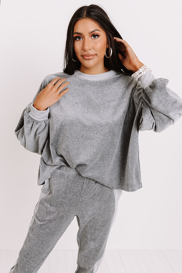 Across Campus Velour Sweatshirt In Dark Grey