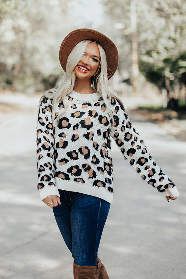 Cappuccinos On Repeat Leopard Sweater