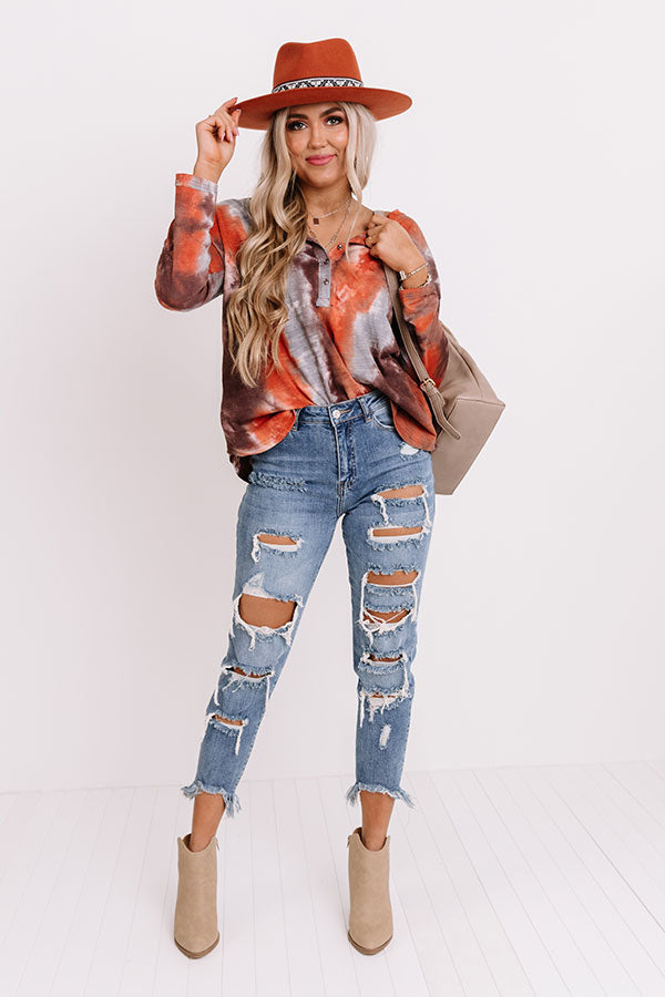 Shades Of Fall Tie Dye Top In Rust
