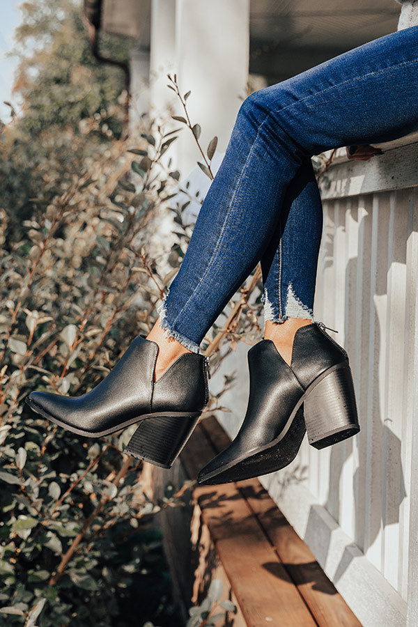 The Joanna Faux Leather Bootie in Black
