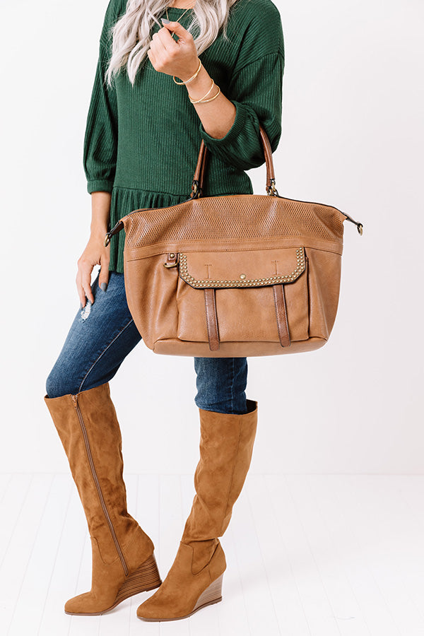 Betting On Brunch Faux Leather Tote In Brown