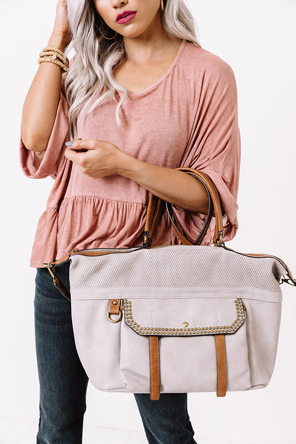 Betting On Brunch Faux Leather Tote In Grey