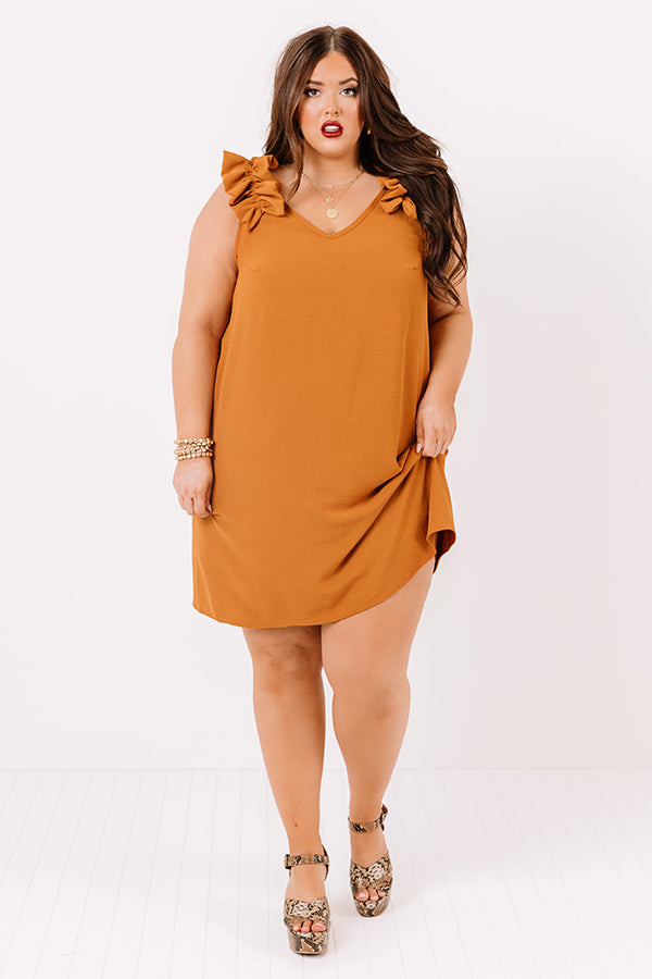 Song And Dance Ruffle Shift Dress In Pumpkin