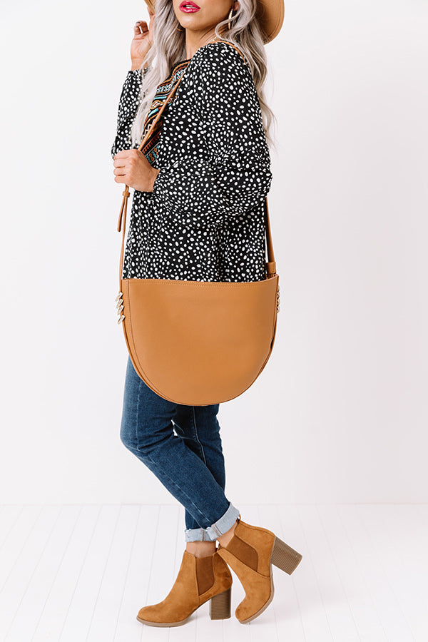Cider Chic Faux Leather Crossbody In Camel