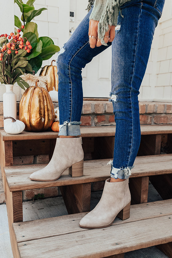 The Estelle Faux Leather Bootie in Taupe
