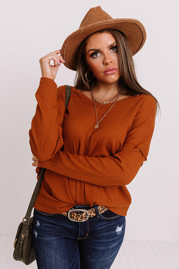 London Shops Waffle Knit Top In Rust