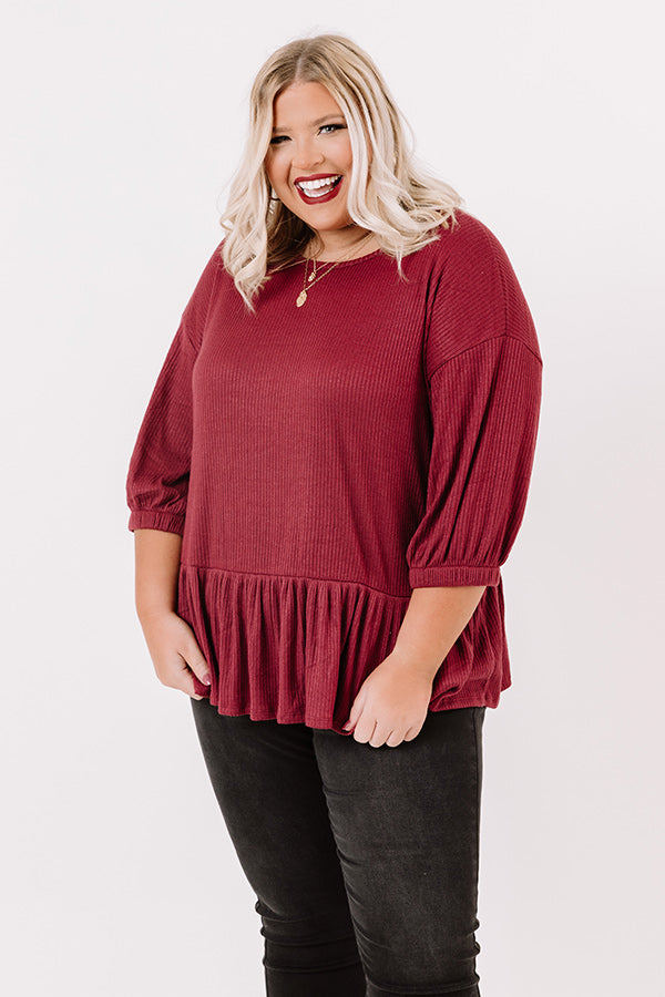 Willow Walk Knit Shift Top in Wine