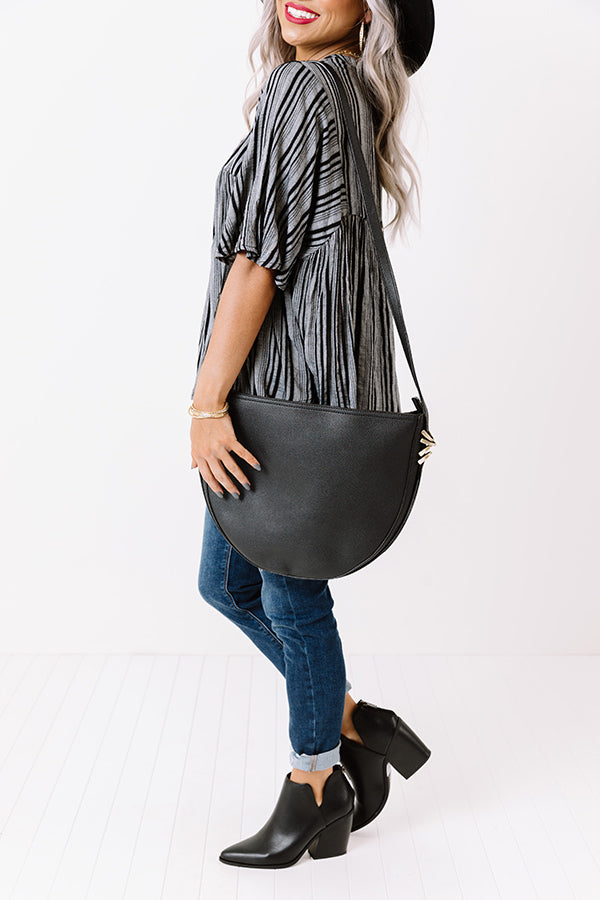 Cider Chic Faux Leather Crossbody In Black