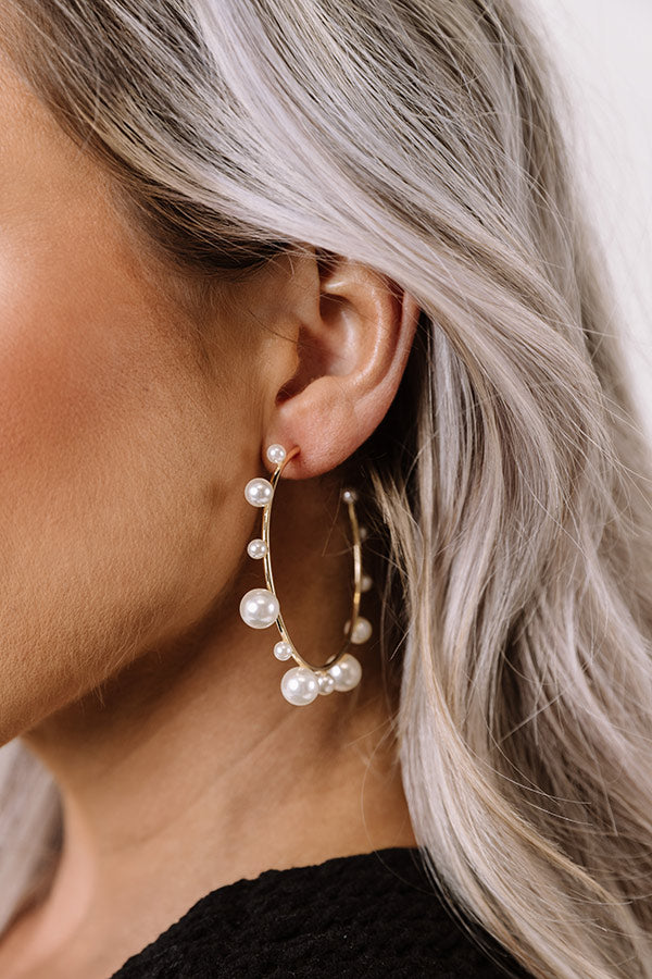 Sweet Pearl Hoop Earrings