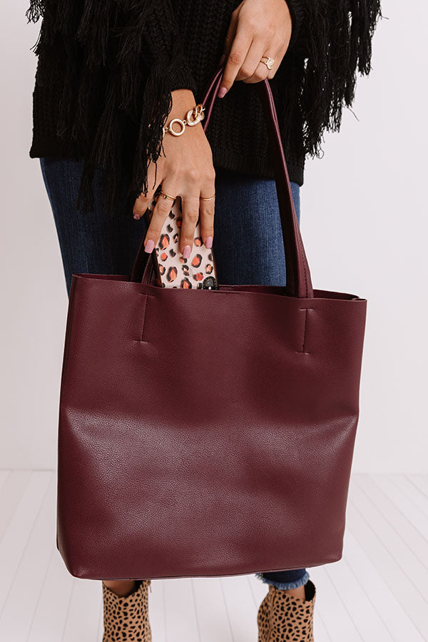 Intermission Faux Leather Tote In Windsor Wine