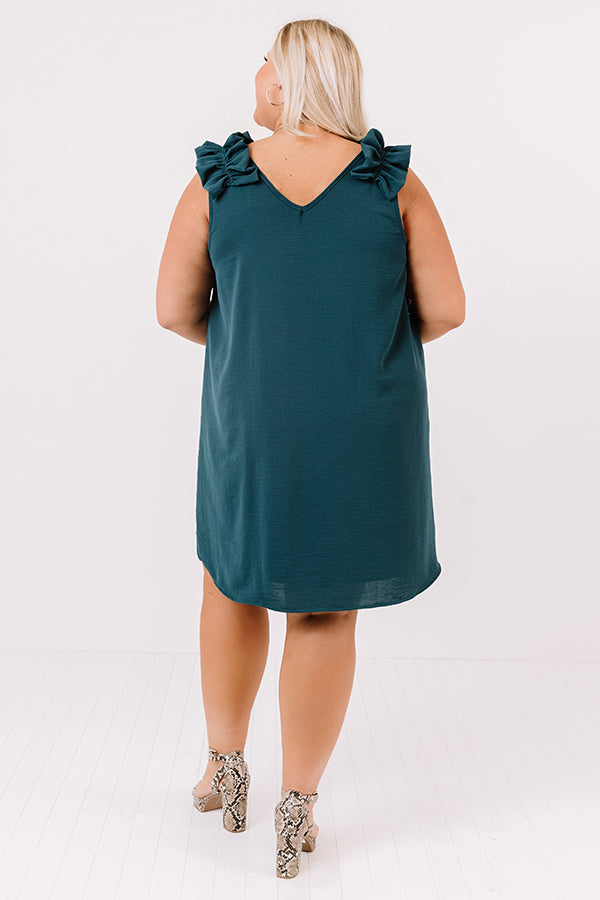 Song And Dance Ruffle Shift Dress In Teal